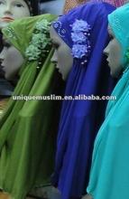 H061 latest muslim hijab with 3 pieces flower,islamic scarf