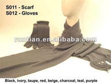 Knitting Soft Acrylic Scarf and glove set