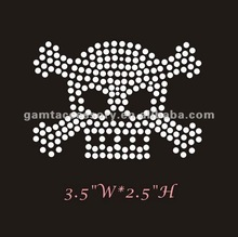 beautiful skull with crossbones hot fix rhinestone motif designs