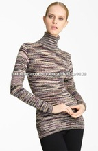 Turtleneck variegated hues fashion sweater 2012