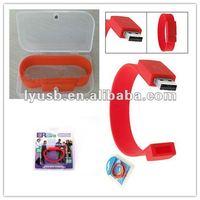 Red usb flash drive wristband usb silicone bracelet 4gb,2gb customized gift usb flash drive 2.0,logo printed bracelet usb 4gb
