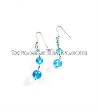 2012 fashion blueGlass bead drop earring