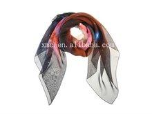 Printed silk chiffon fabric scarf 2012