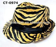 black band Leopard grain fedora hat