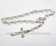 Religion Rosary Plastic Bracelet with Christian Cross Pendant