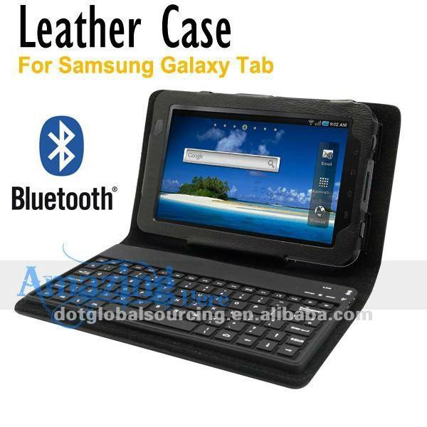 Bluetooth Wireless 81 Keys Keyboard Stand Leather Case For Samsung Galaxy Tab P1000