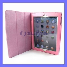 Pink 360 Roating Stand Leather Case for The New iPad iPad 3