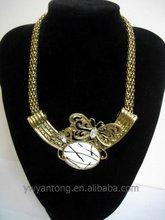 New Type Popular Alloy Butterfly Bib Necklace Jewelry with Gemstone