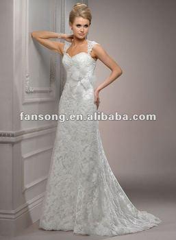 New arrival cap sleeve beaded lace sheath Floor Length Vintage wedding dress lace