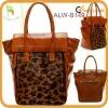 New designed retro Leopard Print Horse Hair leather tote bag lady Handbag
