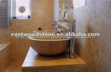 Beige white travertine sinks
