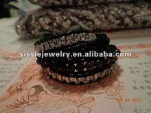 Mixed Jet/Crystal/Garnet 4 X Wrap Bracelet On Black Leather