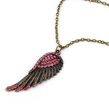pink rhinestone angel wing necklace