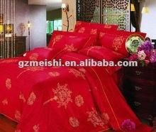 4pcs 100% cotton soft red printed wedding comforter