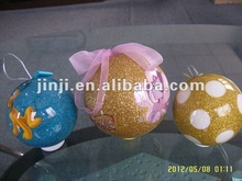 Hot products plastic christmas hanging glitter ball