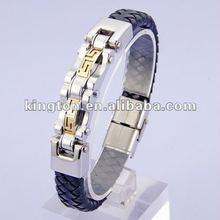 mens steel bangle with genuine leather bracelet 2012