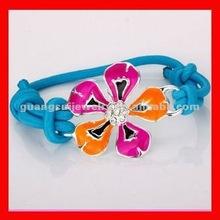 fashion flower charms elastic fabric bracelet