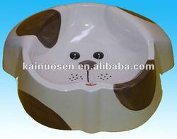 handmade painted white ceramic cartoon doghead's shape dog bowls