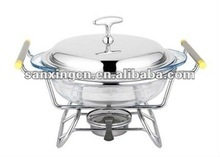 glass chafing in dish,round,party food warmer