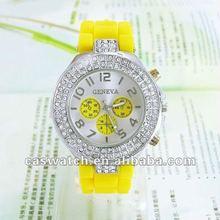 2012 Popular Geneva Silicone Jelly Watches,promotional diamond watch,HOT!!!
