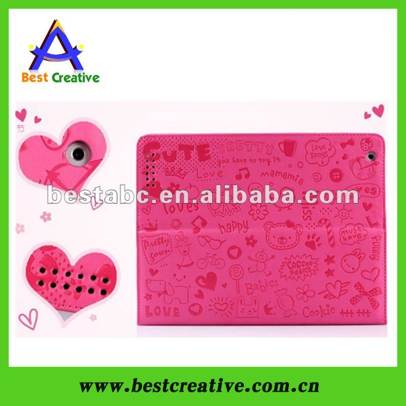 cartoon case for ipad 2 for new ipad leather case