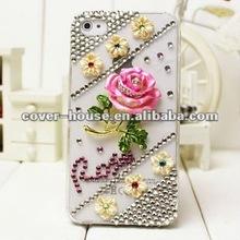 Popular design 3D ROSE Bling phone case for iphone4 4S