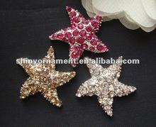 2012 new fashion color rhinestones starfish flat button