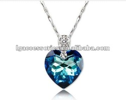 White gold plated austrian crystal titanic heart of the ocean pendant necklace