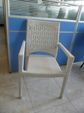 2012 White Stackable armrest PE rattan chair