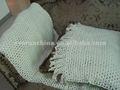 sábana tejida icono espacio sólido y cubrecama con flecos