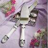 Porcelain serving set with damask decal serving set knife and cake server/wedding gift wedding decoration/weding favor