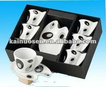handmade white pocelain decal Espresso Set