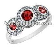 fashion silver three ruby ring