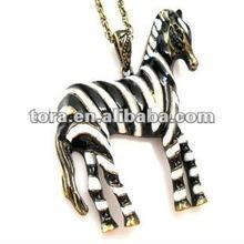 2012 fashion personality enamel zebra Pendant necklace