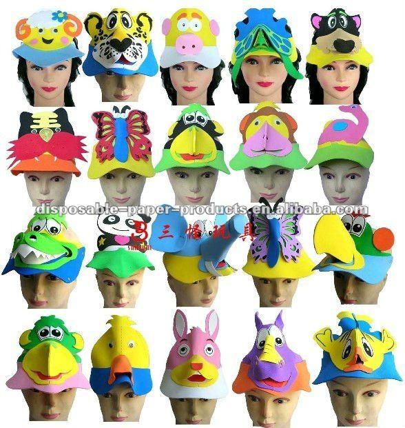 Venta al por mayor de cumpleaños de sombreros de fiesta/espuma de animales de zoológico viseras para el sol sombrero de fiesta favores