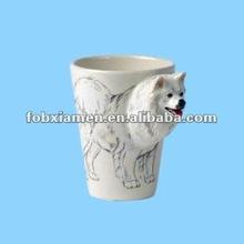 ceramic novelty fancy samoyed 3D animal mug