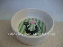 13CM Big White Ceremic cat bowl with Cut cat print