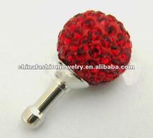 New Style Shiny Red Mobile Phone Shamballa Dustproof Plug