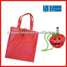 pumpkin shaped folding reusable grocery bags