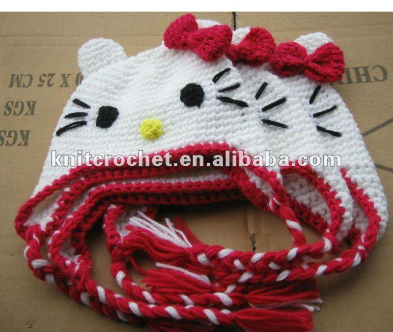 Newborn to Preteen Hand Crochet Hello Kitty Cat Animal Earflap Hat ...
