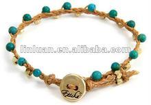 Turquoise beads Braided Vertebrae Gold on Waxed Linen Bracelet