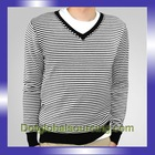 Men V Collar Long Sleeve Striped Golf 100% Cotton Black White Value Club V neck Urban Leisure Conventional Winter Sweater