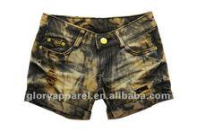 womens denim fitted shorts metalic shorts