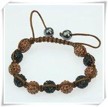 2012 Popular Shambhala Bracelet/bangles with Disco Crystal Ball Shambhala Brown&Black Beads OEM