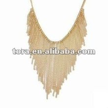 2012 gold multi drop chain necklace