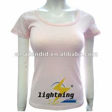 Summer pink women cotton fabric t shirt