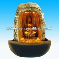Antique Buddha Resin Tabletop indoor fountain with LED Light