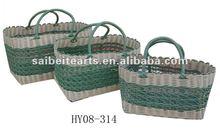 handmade plastic woven beach bag