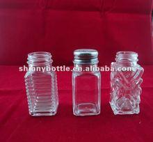 square glass spice herbs jars for salt, pepper