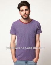 bound collar stripe t-shirts with pocket